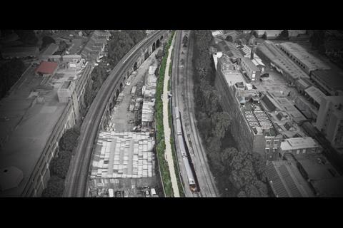 Peckham Coal Line - bird's eye view